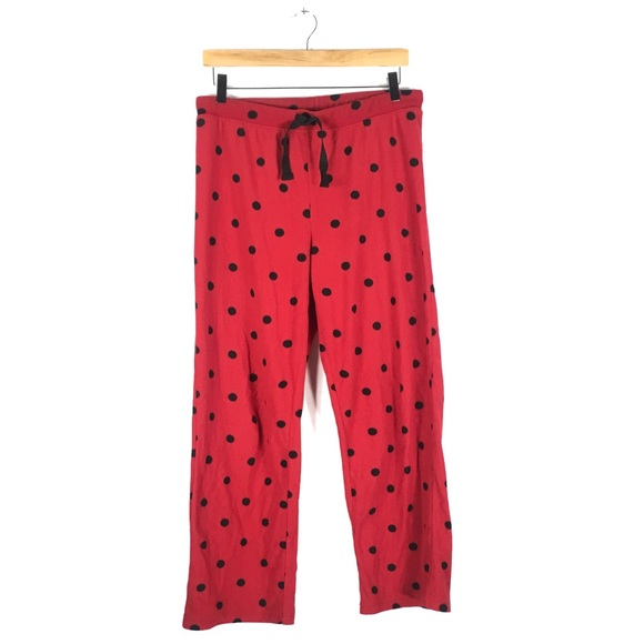 Other - Red with Black Dots Fleece Pajama Pants Med 8/10